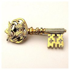 Vintage Gold on Sterling Silver KEY Pin Brooch