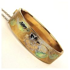 Lovely Old Etched Bangle Bracelet - Hinged Tinted Floral