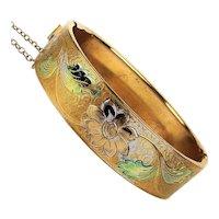 Lovely Old Etched Bangle Bracelet - Hinged Tinted Floral
