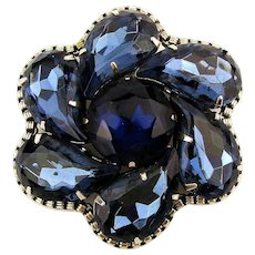 Vintage Royal Blue Pin Pendant Large Swirling Rhinestones