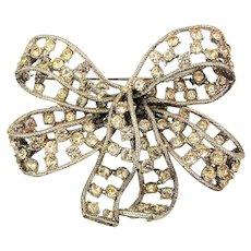 Big Donald Stannard Crystal Rhinestone Bow Pin Brooch