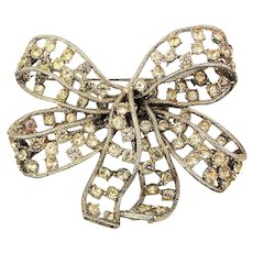 Big Donald Stannard Crystal Rhinestone Bow Pin Brooch