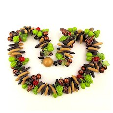 West Germany Wild Fruit n Nut Dangles Necklace 1950s Plastic