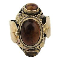 Taxco Sterling Silver Poison Pill Ring w/ Tiger Eye Secret Box Top
