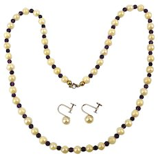 Vintage Imperial Cultured Pearls Necklace / Earrings 14K gold