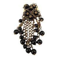 1930s Glass Beads Brass Dangles Pin Brooch