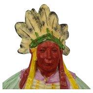 Antique German Majolica Indian Chief Bisque Figurine