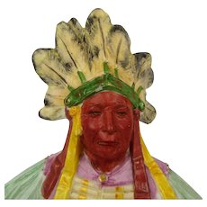 Antique German Majolica Indian Chief Bisque Figurine