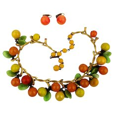 Vintage VOGUE Jewelry Fruit Salad Necklace Earrings Set