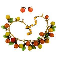 Vintage VOGUE Jewelry Fruit Salad Necklace Earrings Set