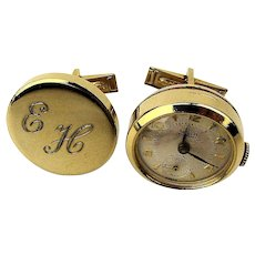 Vintage Cufflinks w/ Working Winder UNIA Swiss Watch 17 Jewels