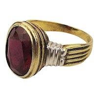 Vintage Gilded Sterling Silver Ring w/ Ravishing Red Stone