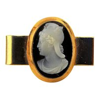 Victorian Style 14K Gold Tie Clasp w/ Hardstone Cameo Roman Classic