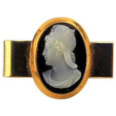 Victorian Style 14K Gold Tie Clasp w/ Hardstone Cameo Roman Classic