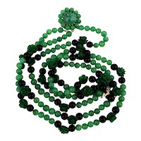 Gorgeous Faux Jade Green Stone Glass Necklace w/ Molded Roses 3 Strands