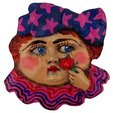 Vintage Hand-Painted Clay Art Pin - Bertha Smells The Rose