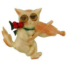 Vintage Celluloid Fiddling Cat w/ Winking Eyes Pin Brooch