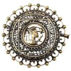 Old Intricate Sterling Silver Pin Pendant Egyptian Motif w/ Iraqi Hallmarks
