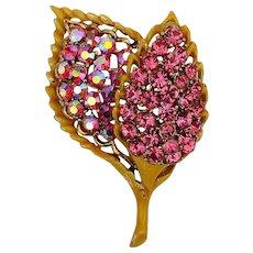 Vintage Rhinestone Pin Brooch - 2 Leaves - 2 Pinks - 2 Ways to Sparkle