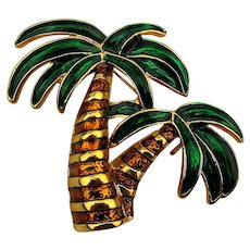 Vintage Enamel PALM TREE Pin Brooch Tropical Trees