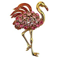 Vintage TRIFARI Rhinestone Pink Flamingo Pin Brooch - The Classic
