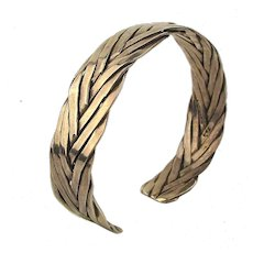 Vintage Mexican Sterling Silver Cuff Bracelet Hand Braided