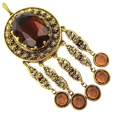 GOLDETTE Victorian Style Dangle Necklace w/ Glass Stone - Crystals