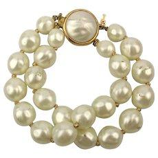 Crown Trifari Big Faux Baroque Pearl Bracelet