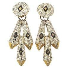 1980s Big Glitzy Rhinestone Dangle or Button Clip Earrings