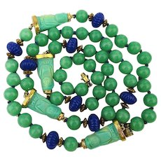 Chinese Jade Glass Bead Necklace w/ Carved Turquoise Stone Buddhas