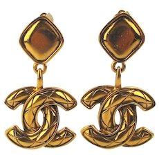 1980s CHANEL ~C-C~ Logo Clip Earrings Dangles