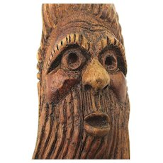Old Hand Carved Wood Folk Art Man w/ Long Beard Wall Carving