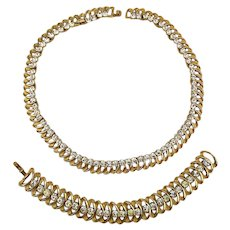 Crown Trifari Necklace Bracelet Set - 1950s Elegant Glamor