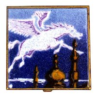Russian Enamel on Brass Flying White Horse Pegusus Pill Box