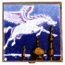 Russian Enamel on Brass Flying White Horse Pegusus Pill Box