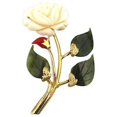 Vintage Swoboda Jade Angel Skin Coral Flower Pin Brooch
