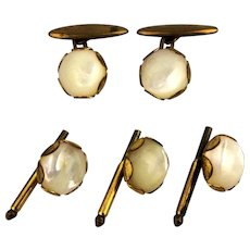 Victorian Gilded Brass Cufflinks Stud Set w/ Mother of Pearl