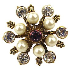 Vintage Betsey Johnson Big Rhinestone Faux Pearl Ring