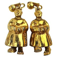 Very Unique Chinese Figural Earrings - Mechanical - They Walk c1950s