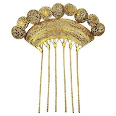Big Vintage Gilded Filigree Haircomb Hair Comb