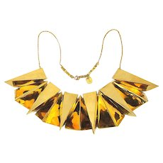 Big Crazy Clunky Designer Golden Pyramid Necklace