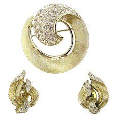 Designer LISNER Rhinestone Pin w/ Earrings Set