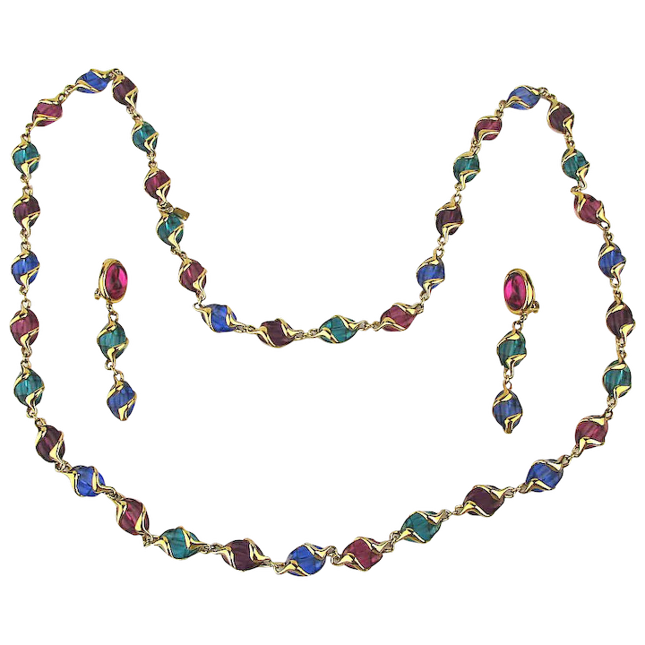 official photos on feet shots of most desirable fashion Vintage Swarovski Multi Color Long Jewel Necklace w/ Clip Earrings