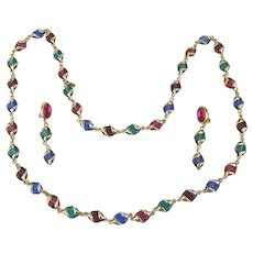 Vintage Swarovski Multi Color Long Jewel Necklace w/ Clip Earrings