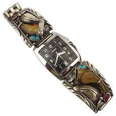 Signed Navajo Sterling Silver Bear Claw Watch Tips Band Inlay