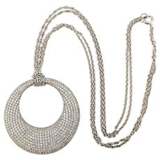 925 Sterling Silver Circle Pendant Covered in Sparkle Necklace
