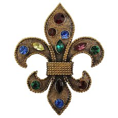 Large Vintage FLEUR DE LIS Jeweled Rhinestone Pin Brooch
