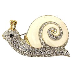 Butler Fifth Avenue Collection Swarovski Pave Enamel Snail Pin Brooch