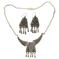 Vintage Byzantine Sterling Silver Filigree Necklace - Dangle Earrings Set