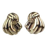 Vintage Sterling Silver Puffy Bundles Pierced Earrings